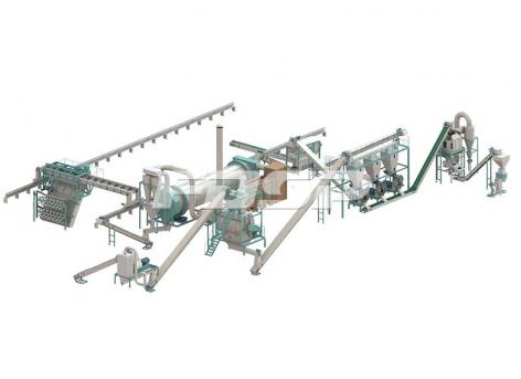 Линия производства гранулирования органических удобрений для свиного навоза 6-7т